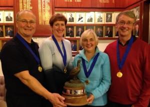 Scottish Curling Senior Mixed Champions 2013 (L-R) Billy Johnstone, Kate Adams, Fiona MacFarlane and Gary MacFarlane