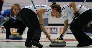 Penticton B.C.Jan12_2013.World Financial Group Continental Cup.Team World skip Eve Muirhead,lead Vicki Adams,third Anna Sloan.CCA/michael burns photo